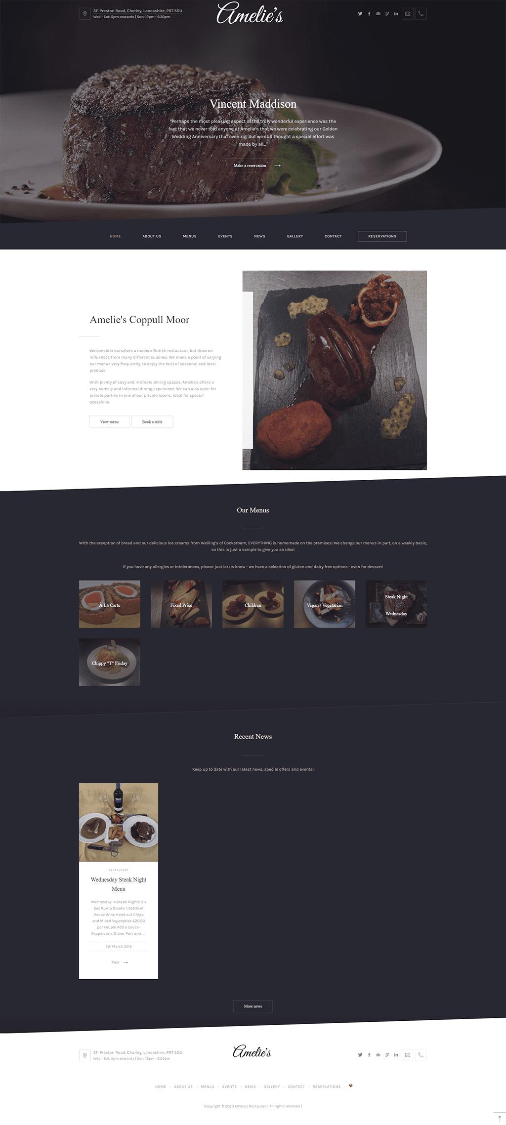 PORTFOLIO: Amelie's Restaurant - Homepage